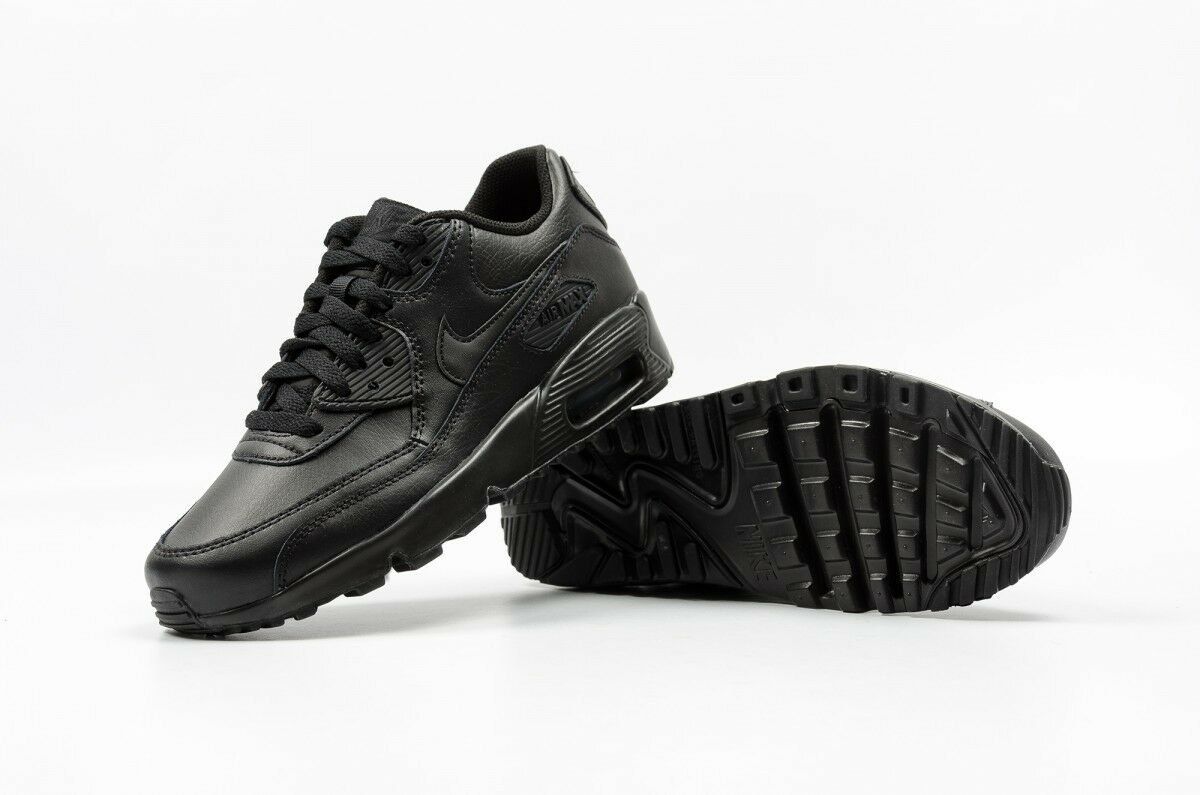 NIKE AIR MAX 90 LTR GS 833412 001 LEATHER TRIPLE BLACK YOUTH BOYS GIRLS ALL SIZE