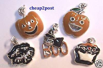 5 Enamel Halloween Charms Pumpkin Jack o Lantern Bat Boo Ghost Witch