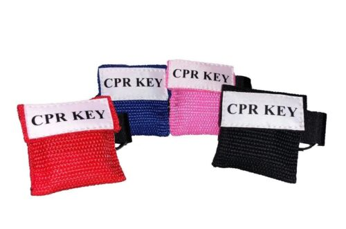"4 Assorted Color Face Shield CPR Masks in Pocket Keychain - ""CPR Key"""
