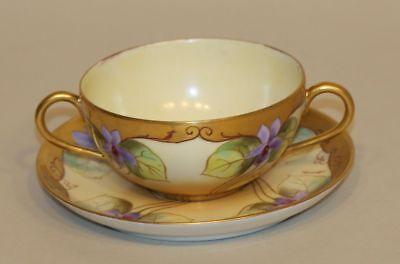 Pickard WG & Co Limoges Signed Kriesche Bouillon Cup Saucer Art Nouveau Violets