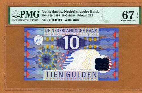 Netherlands, 10 Gulden, 1997, P-199, PMG-67, EPQ, Pre-Euro, Superb Gem UNC