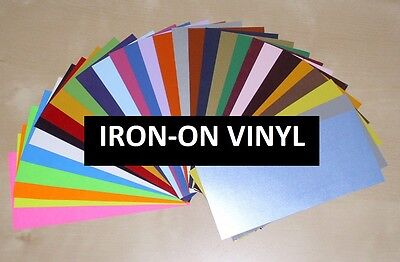 "IRON-ON Heat Transfer Vinyl - LARGE 12""x15"" Sheet for ALL Cutting Machines"