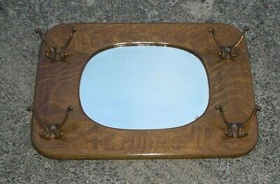ANTIQUE SOLID TIGER OAK HALL MIRROR WITH HOOKS Hall Mirror Hooks