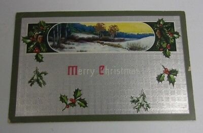 Merry Christmas Arts & Crafts Postcard w/ Winter scene and Holly  T* ()