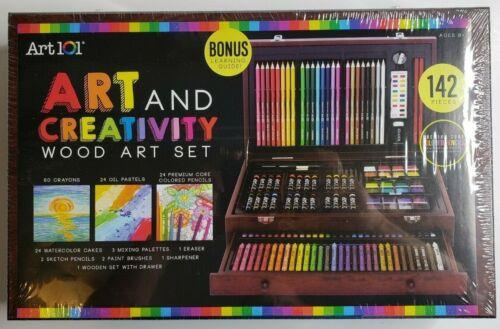 Large Drawing 142 Piece Pencil Pastel Color Draw Kit Supplies Craft Art Wood Set