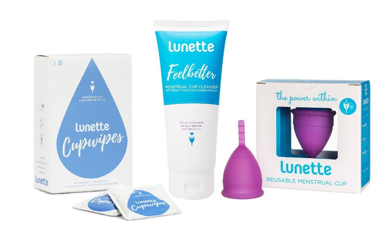 LUNETTE Reusable Menstrual Cup Model 1 VIOLET PACK with 1 Cl