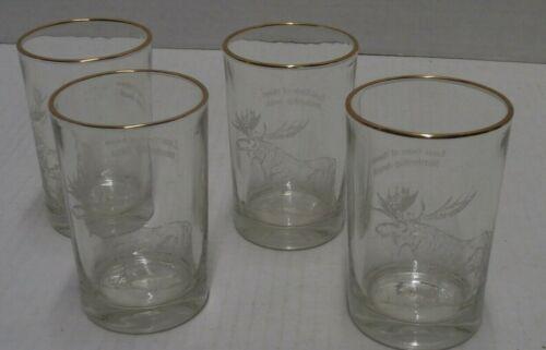 Loyal Order of the Moose Membership Award Liquor Glasses Gold Trim Set of 4 -s9b