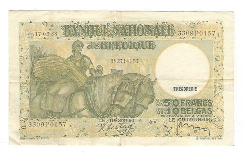Belgium - 1938, 50 Francs