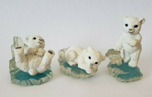 Lot of 3 Vintage Polar Playmates Collection Polar Bear Figures 1997 Hamilton