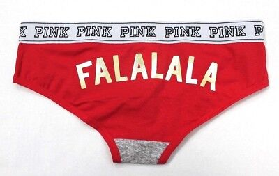 Victoria's Secret Logo Holiday Hipster Panty Size M Grey & Red Pepper FALALALA