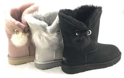 UGG Irina Women's Soft Sheepskin Boots Statement Pin Pom Pom Swarovski Crystal Crystal Pom Poms