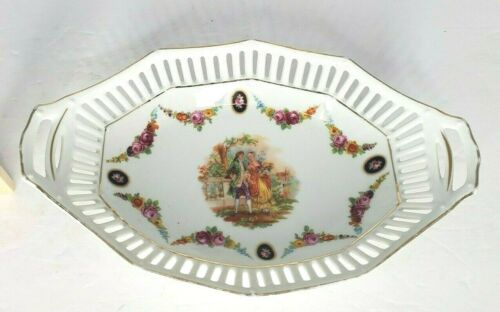 Schumann Arzberg Germany Reticulated Pierced Oval Bowl Victorian Courting Couple