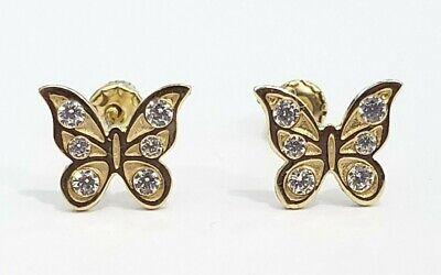 Clearance 14k Yellow Gold Butterfly CZ Earrings Unique Pattern Kids Shape 14k Yellow Gold Butterfly Earrings