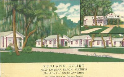 FL - REDLAND COURT LINEN POSTCARD MOTEL, NEW SMYRNA BEACH, FL 1949