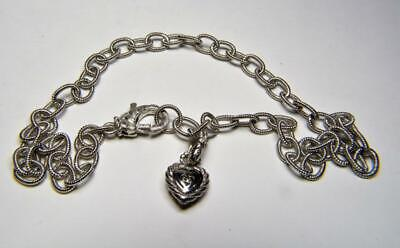 "Judith Ripka 925 Sterling 15.5"" necklace w/Pave diamontique CZ heart pendant 32g"