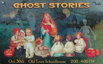 Ghost Stories Old Town School House Tin Metal Sign Halloween Vintage Style B32 (Old Town Halloween)