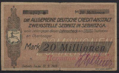 [21150] - Notgeld SEBNITZ, Hermann & Fritsche auf ADCA, 20 Millionen Mark, 12.09