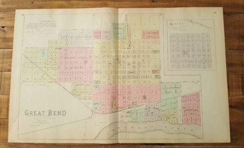 Antique Colored MAP - GREAT BEND & ALBERT - 1887 KANSAS ATLAS