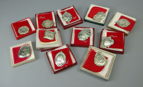 11 Towle Sterling Silver Christnas Medallion Ornaments