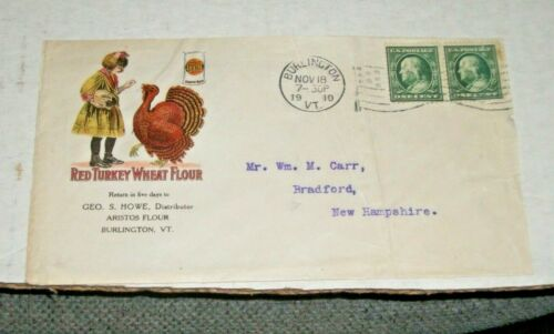 NOV.18,1910 RED TURKEY WHEAT FLOUR PICTORAL Advertising COVER-US STAMPS-374,331?