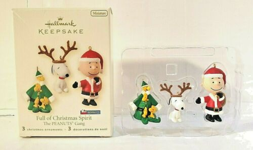 2008 Hallmark Peanuts Snoopy Woodstock Charlie Mini 3pc Christmas Ornament NEW