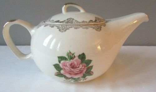 Vintage Paden City Pottery American Rose Warranted 22K Gold 4 Cup Teapot