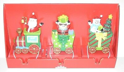 Christmas Train Stocking Holders Set of 3 New in Box
