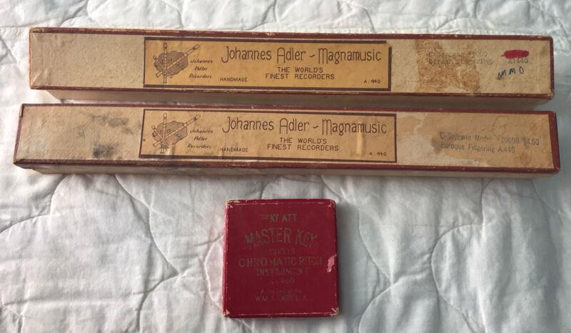 Two (2) Vintage Johannes Adler Magnamusic Soprano Recorders & Pitchpipe LOT
