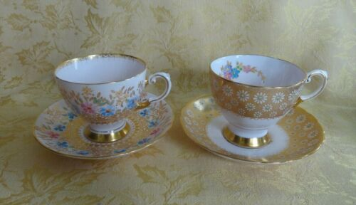 Two Tuscan Bone China Cup & Saucer Sets ~ Floral W Gold Decoration