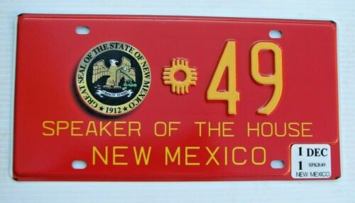 """NEW MEXICO SPEAKER OF THE HOUSE OF REPRESENTATIVES LICENSE PLATE """" 49 """" NM SEAL"""