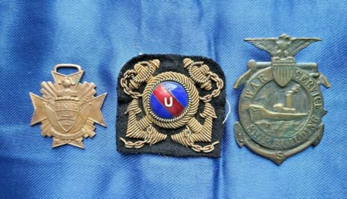 Lot of 3 WW1 WW2 US Navy Badges, Patch