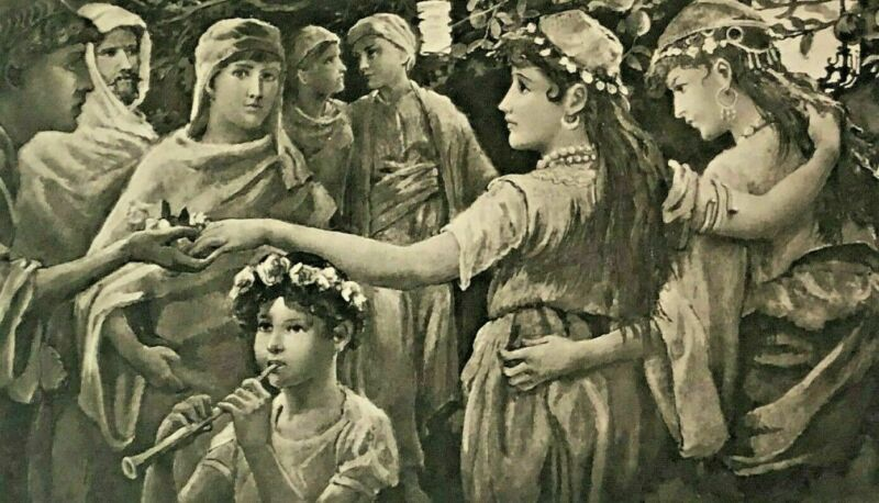 """1887 Steel Etching Photogravure Art Print """"Maids Of Cashmere"""" By Will H. Low"""