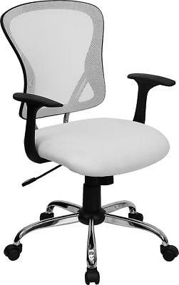 Chrome Base White Mesh Computer Office Desk Chair