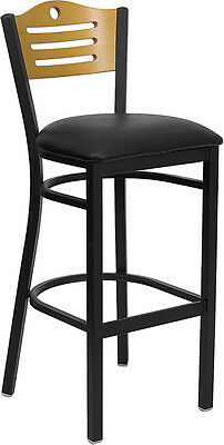 Metal Frame Restaurant Bar Stool W Natural Wood Back And Black Vinyl Seat