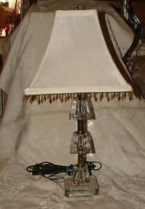 VINTAGE-ART-DECO-1930s-Crystal-Cube-3-Tier-Table-Lamp-w-Shade-BEAUTIFUL-L-K