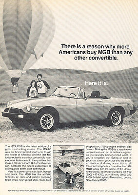 1979 MG MGB - Balloon - Classic Vintage Advertisement Ad D43