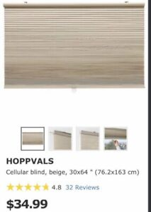 """**BEIGE COLORED IKEA HOPPVAL CELLULAR BLINDS FOR SALE- 30""""X 64""""*"""