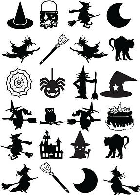 WITCH THEMED HALLOWEEN SILHOUETTE MULTI PACK x 24 - VINYL STICKERS - Halloween Silhouette Stickers