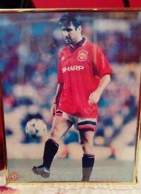 Eric Cantona framed picture hanging man utd