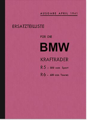 BMW R 5 und R 6 1941 Ersatzteilliste Ersatzteilkatalog Teilekatalog R5 R6 ()