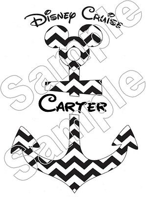Personalized Disney Cruise ANCHOR Chevron Iron On T Shirt Fabric Transfer -