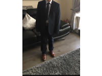 Boys prom / wedding suit navy age 14 and tan shoes size 4