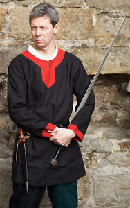 Medieval-LARP-SCA-re-enactment-Role-play-Black-Red-Noblemans-Knight-Tunic