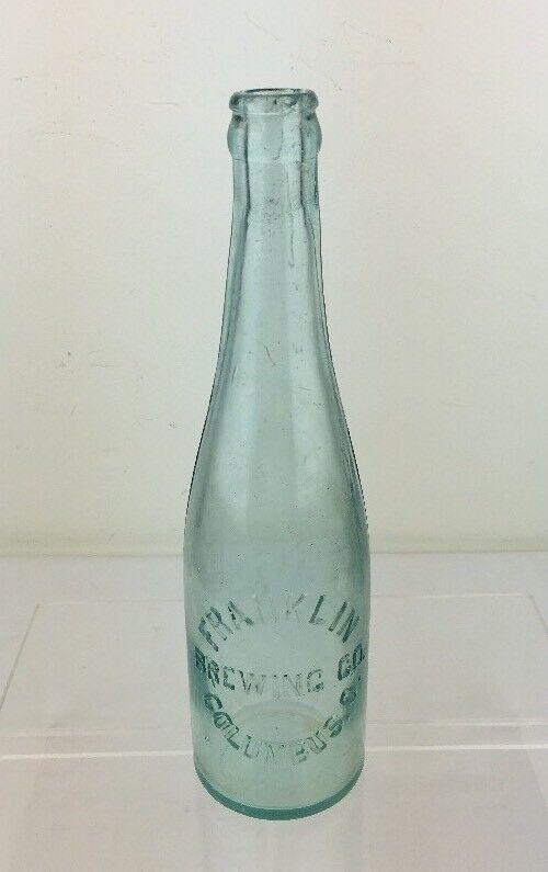 Antique Pre-Prohibition FRANKLIN BREWING CO Columbus OH Beer Bottle Aqua Embossd