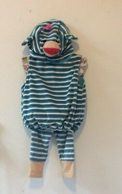SOCK MONKEY HALLOWEEN COSTUME NWT Boo Babies BLUE STRIPE  Infant 9-18 Mths 3 PC - Baby Sock Monkey Halloween Costumes