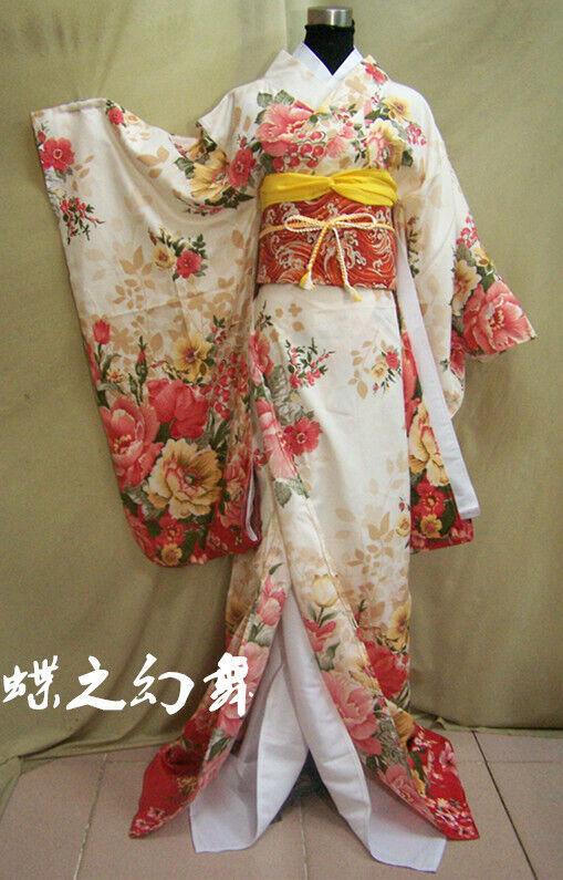 Japanese Furisode Kimonos Womens Floral Yukata Long Traditional Cosplay Costumes