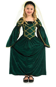 GIRLS-MEDIEVAL-TUDOR-LADY-QUEEN-PRINCESS-FANCY-DRESS-COSTUME-OUTFIT-4-6-8-10-12