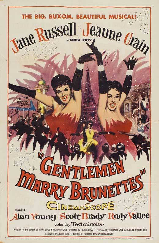 GENTLEMEN MARRY BRUNETTES Movie POSTER 27x40 Jane Russell Jeanne Crain Alan