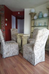 Dinning room set chairs with glass hutch