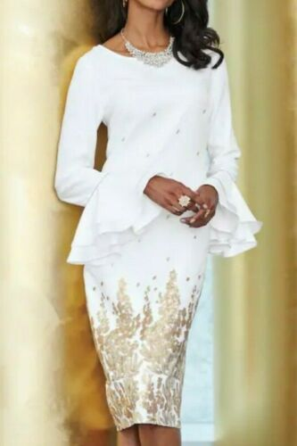 Ashro Formal Ivory Wedding Engagement Party Moya Gilded Floral Dress  Size 8 12